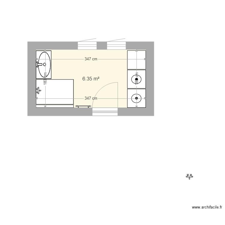 salle de bain plan 1 pi ce 6 m2 dessin par gringomson. Black Bedroom Furniture Sets. Home Design Ideas