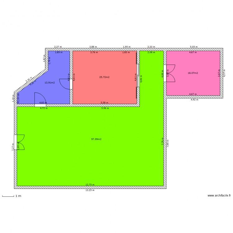 Croquis maison t3 plan 4 pi ces 156 m2 dessin par for Taille moyenne maison