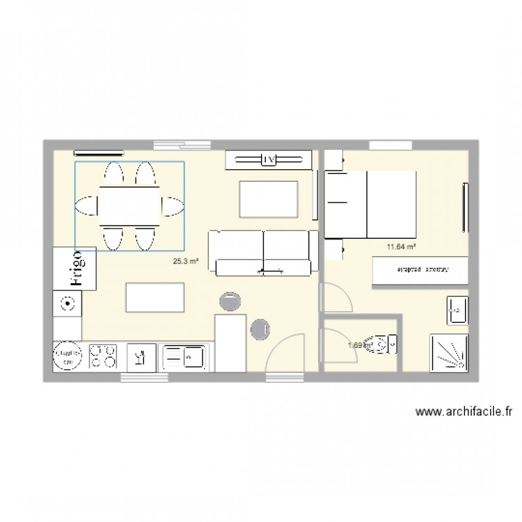 Plan maison 45m2 plan 3 pi ces 39 m2 dessin par luciebiton for Appartement 45m2 design