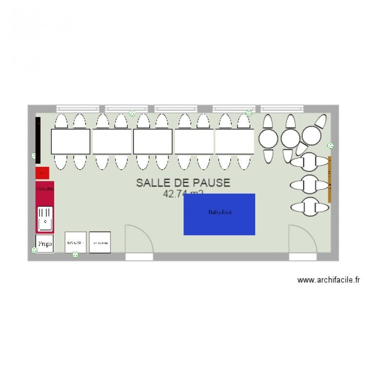 Salle de pause 1 plan 1 pi ce 43 m2 dessin par manina92 for Salle de pause