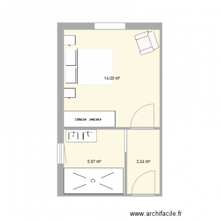 chambre parentale plan 3 pi ces 23 m2 dessin par arcansu. Black Bedroom Furniture Sets. Home Design Ideas