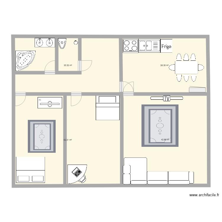 Malyka225 plan 4 pi ces 152 m2 dessin par malyka225 for Meuble 2 vasques