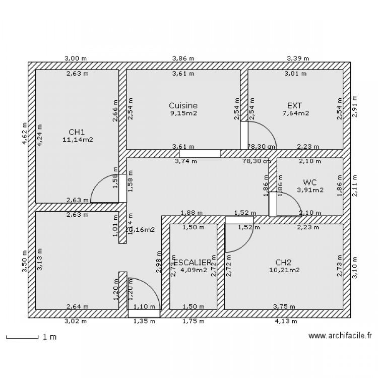 Maison simple plan 7 pi ces 66 m2 dessin par azizourhouch for Plan simple de maison