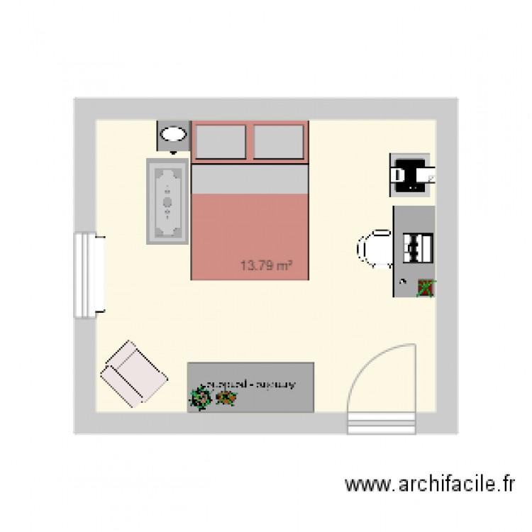 Chambre plan 1 pi ce 14 m2 dessin par anais6 for Chambre one piece