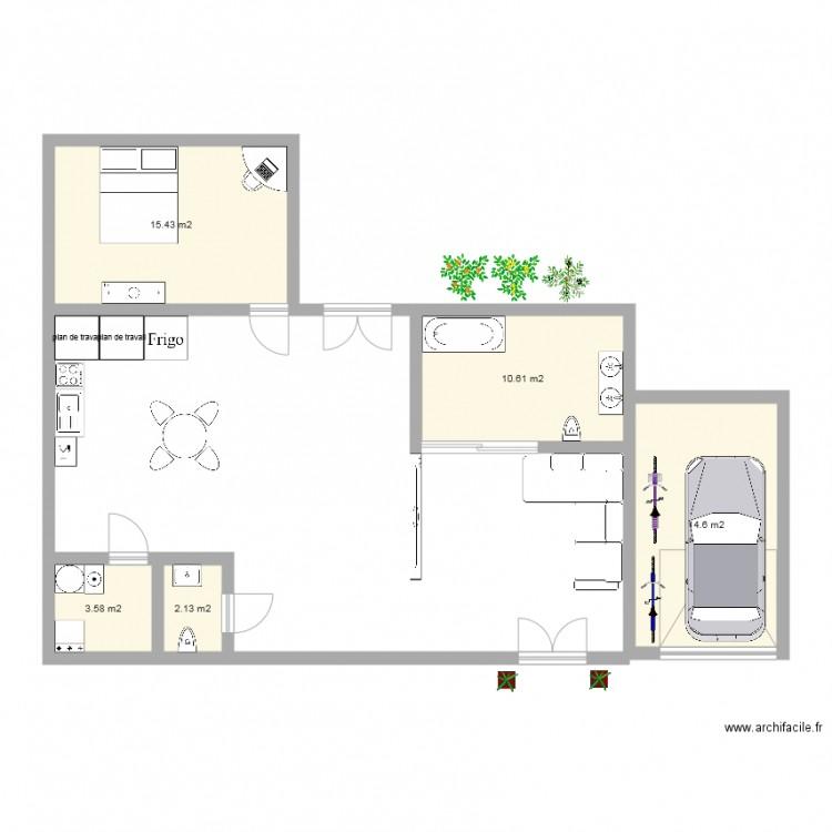 Ma Maison Plan 5 Pi Ces 46 M2 Dessin Par Noelie 17870