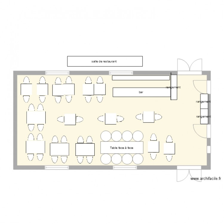 salle de restaurant plan 1 pi ce 74 m2 dessin par martial cornevin. Black Bedroom Furniture Sets. Home Design Ideas