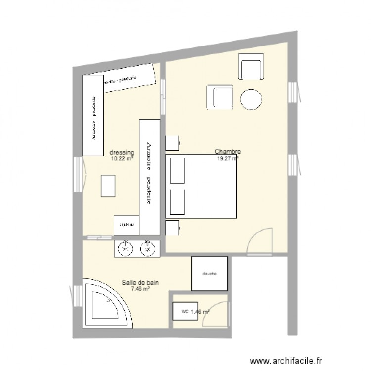 suite parentale plan 4 pi ces 38 m2 dessin par maitressepauline. Black Bedroom Furniture Sets. Home Design Ideas
