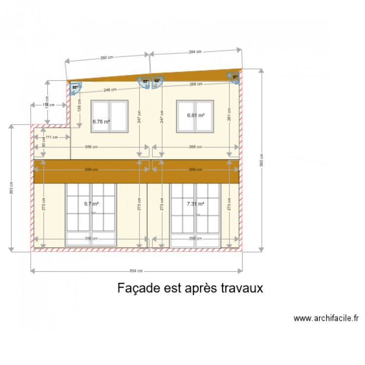 fa ade est apr s travaux plan 4 pi ces 31 m2 dessin par valje. Black Bedroom Furniture Sets. Home Design Ideas