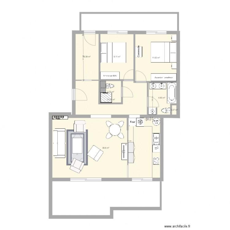 Saintraphael projet1ml2 plan 8 pi ces 85 m2 dessin par for Laure de flores linge de maison