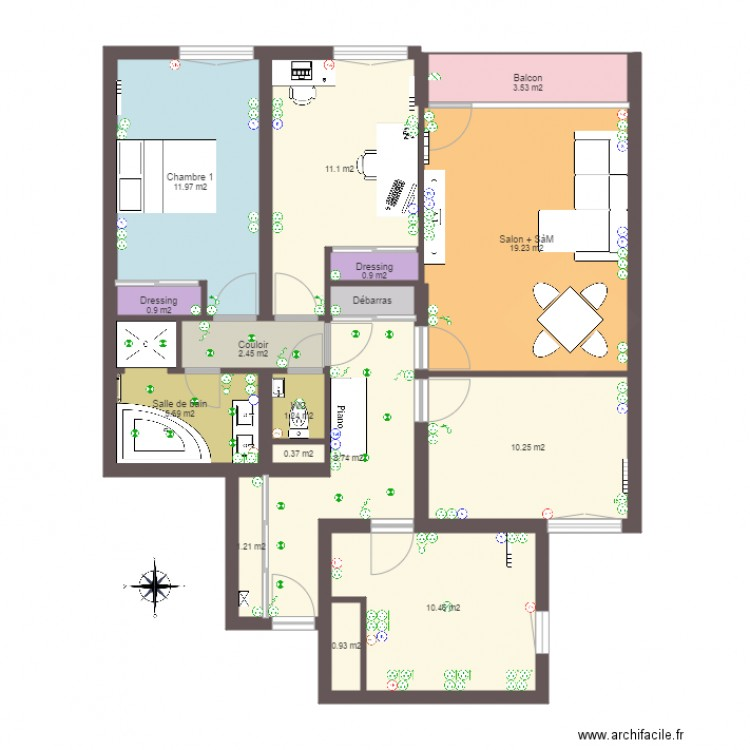 treich2016 plan appartement plan 16 pi ces 90 m2 dessin. Black Bedroom Furniture Sets. Home Design Ideas