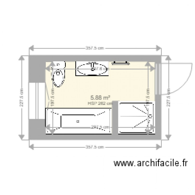 salle de bain 1 plan 1 pi ce 6 m2 dessin par santucci lamberto. Black Bedroom Furniture Sets. Home Design Ideas