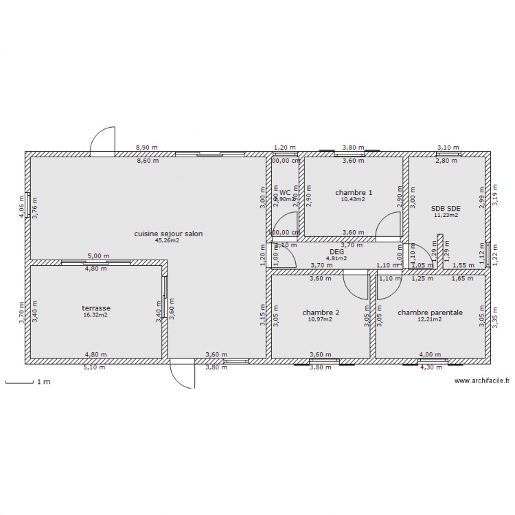 plan appartement rectangulaire