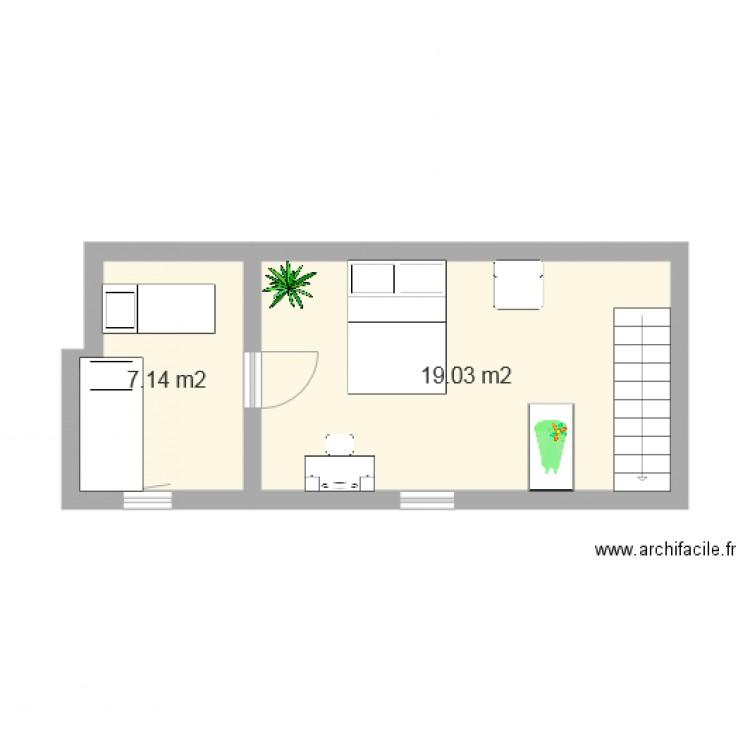 chambre g te plan 2 pi ces 26 m2 dessin par cecile3009. Black Bedroom Furniture Sets. Home Design Ideas