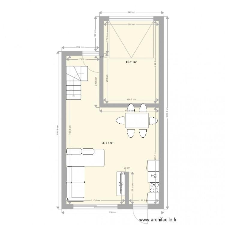 maison plan 2 pi ces 44 m2 dessin par franckh13. Black Bedroom Furniture Sets. Home Design Ideas