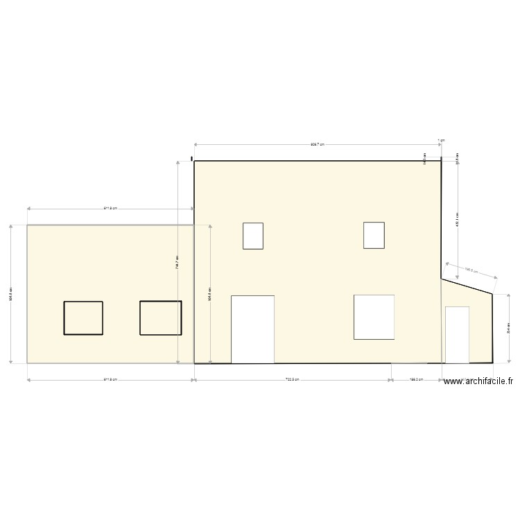 plan coupe facade sud plan 3 pi ces 88 m2 dessin par nonobigoud. Black Bedroom Furniture Sets. Home Design Ideas
