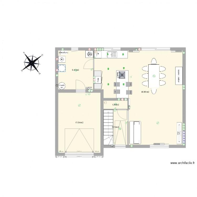 Rdc maison rosult plan 5 pi ces 80 m2 dessin par chbaulz for Maison rosult