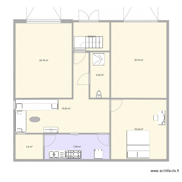 First floor plan 8 pi ces 98 m2 dessin par hassreg for Ici floor plans