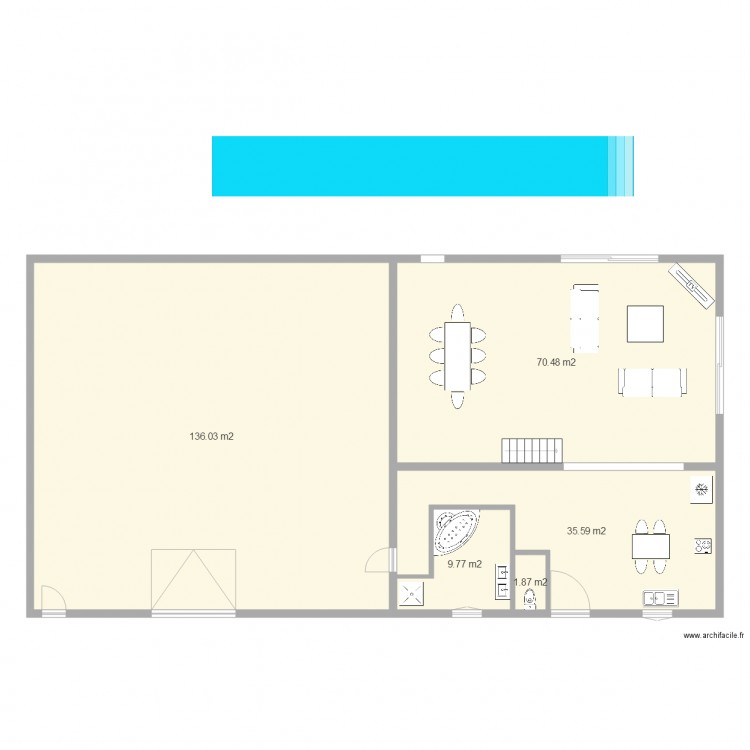 plan rez de chauss plan 5 pi ces 254 m2 dessin par youla16. Black Bedroom Furniture Sets. Home Design Ideas