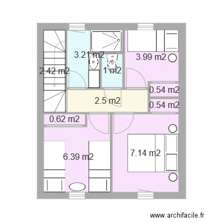 etage maison 60m2 plan 10 pi ces 28 m2 dessin par lucien baurjeat. Black Bedroom Furniture Sets. Home Design Ideas