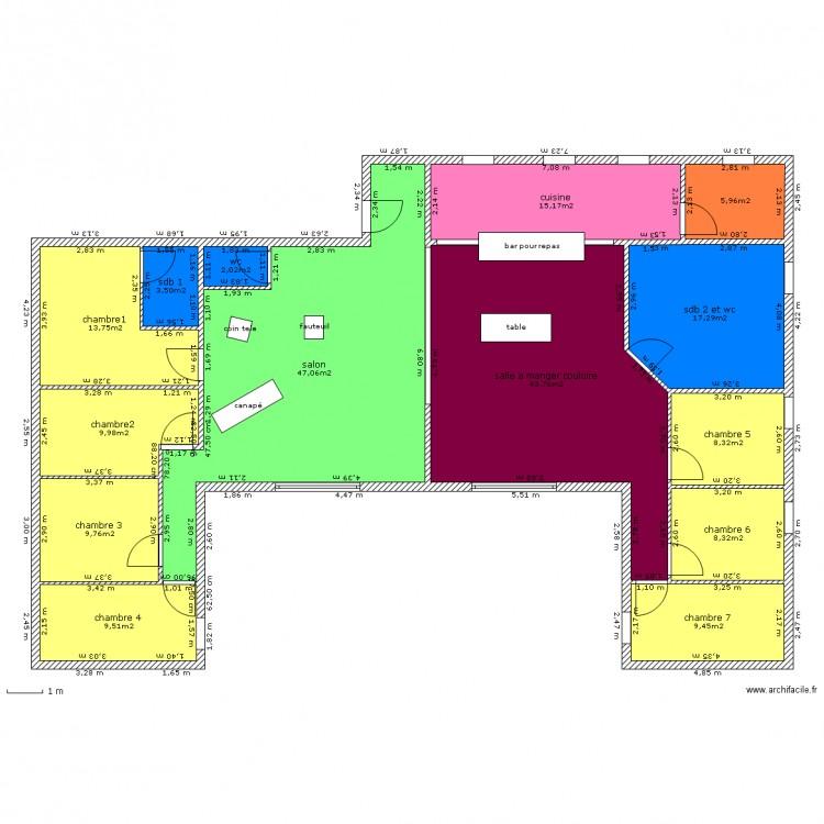 Plan 2 maison conteneur plan 14 pi ces 204 m2 dessin for Plan conteneur