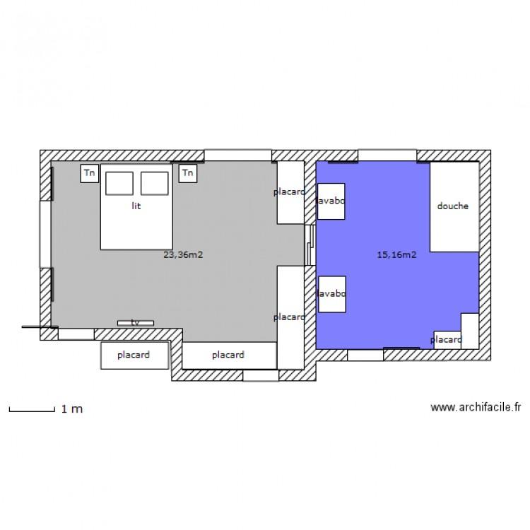 Chambre parentale plan 2 pi ces 39 m2 dessin par for Taille chambre parentale