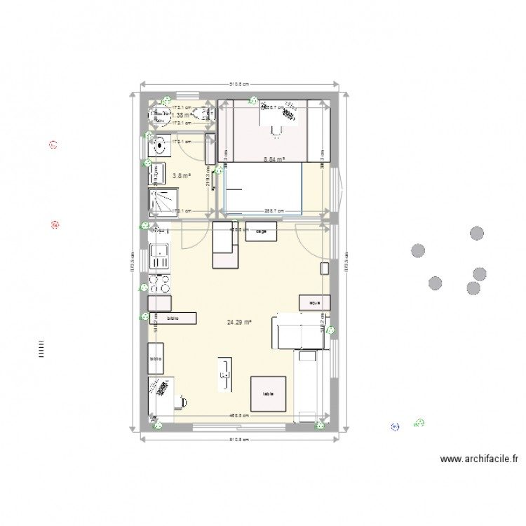 t2 37m2 final plan 4 pi ces 38 m2 dessin par enirak. Black Bedroom Furniture Sets. Home Design Ideas