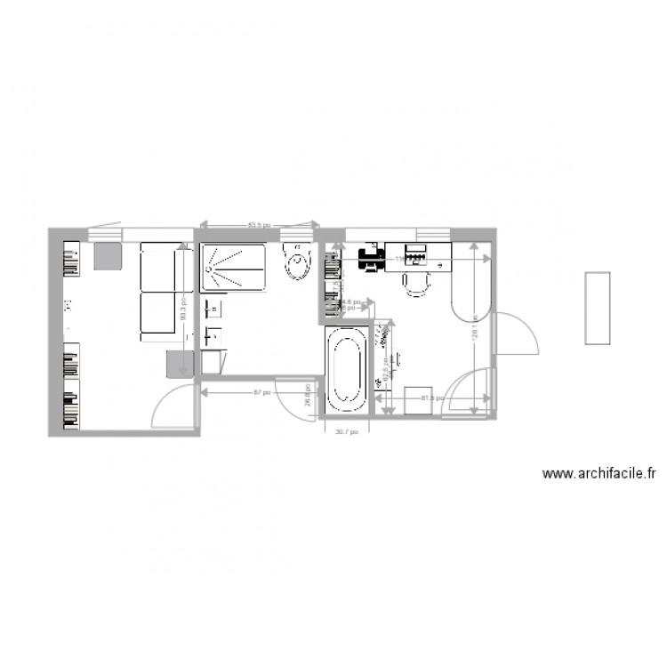 Salle de bain avant plan 4 pi ces 21 m2 dessin par for Salle de bain 4 m2