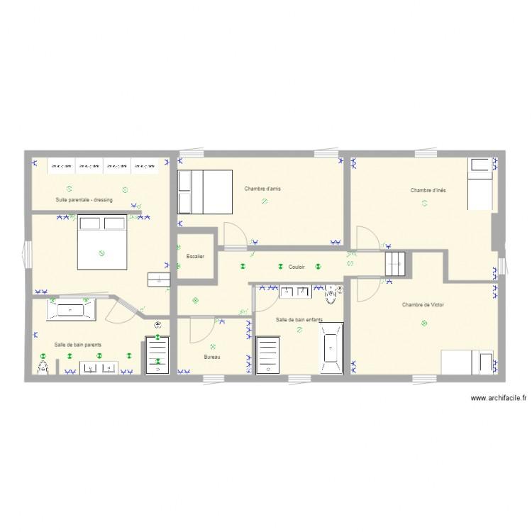 maison etage 2 lectricit plan 9 pi ces 122 m2 dessin. Black Bedroom Furniture Sets. Home Design Ideas
