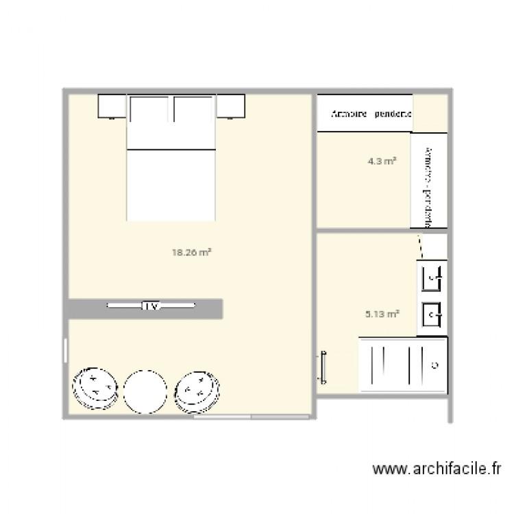 Chambre parentale plan 3 pi ces 28 m2 dessin par shaft69 for Taille chambre parentale