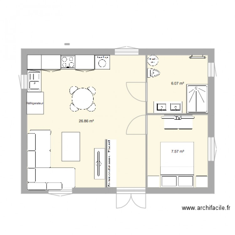 plan du studio bravone3 plan 3 pi ces 40 m2 dessin par borgana. Black Bedroom Furniture Sets. Home Design Ideas