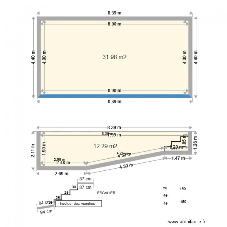 piscine 8x4 plan 2 pi ces 44 m2 dessin par ludodos. Black Bedroom Furniture Sets. Home Design Ideas
