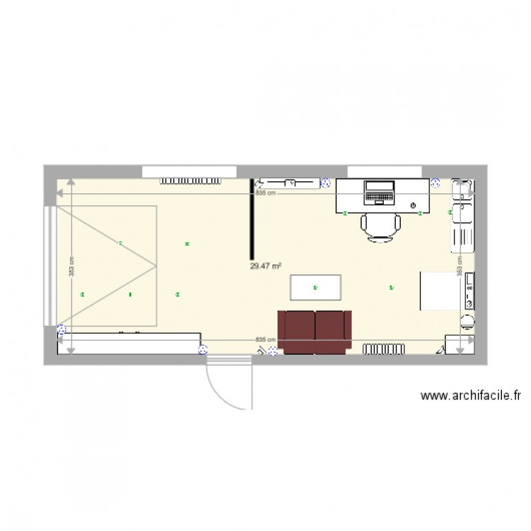 Am nagement garage maison plan 1 pi ce 29 m2 dessin par for Amenagement piece maison