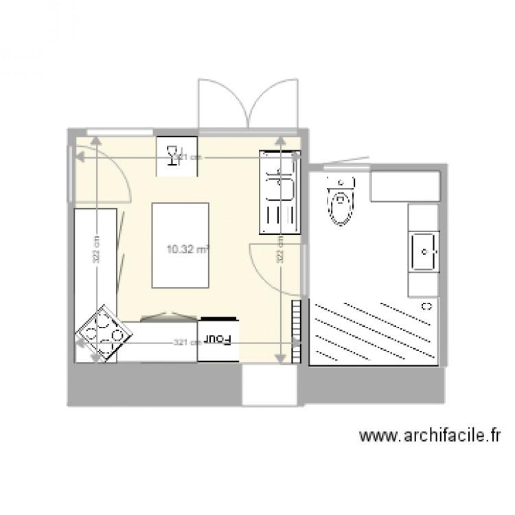 cuisine 4 isolation plan 1 pi ce 10 m2 dessin par martine rambaud. Black Bedroom Furniture Sets. Home Design Ideas