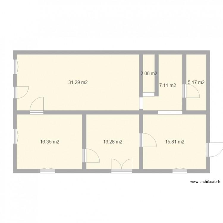 Maison rdc plan 7 pi ces 91 m2 dessin par optimum for Taille moyenne maison