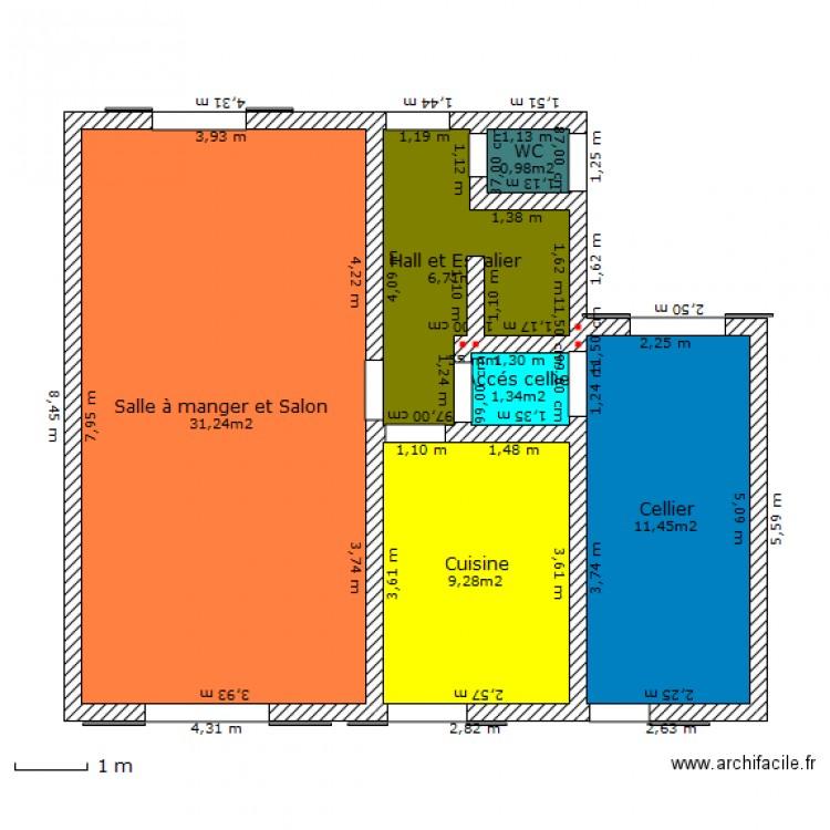 Maison rdc avec dimensions galtier 32 route de seilh for Taille moyenne maison