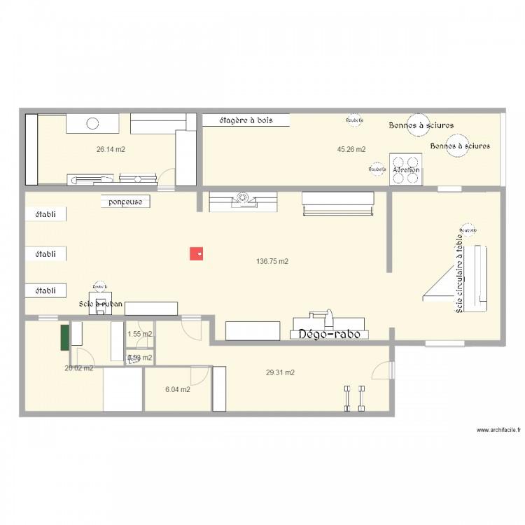 atelier menuiserie plan 8 pi ces 266 m2 dessin par. Black Bedroom Furniture Sets. Home Design Ideas
