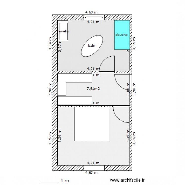 Salle de bain dressing chambre plan 3 pi ces 35 m2 for Plan salle de bain dressing chambre