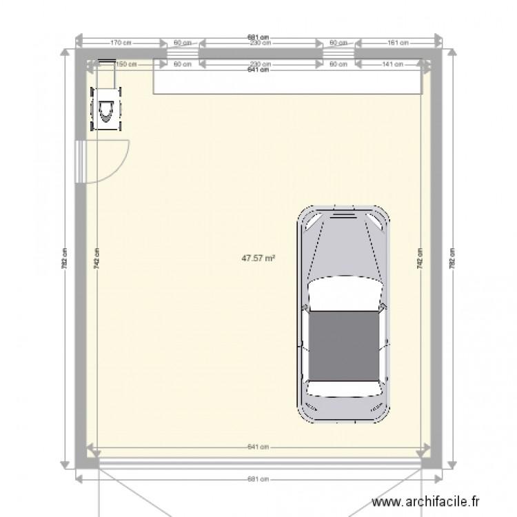 garage amour 2 voitures plan 1 pi ce 48 m2 dessin par esta10. Black Bedroom Furniture Sets. Home Design Ideas