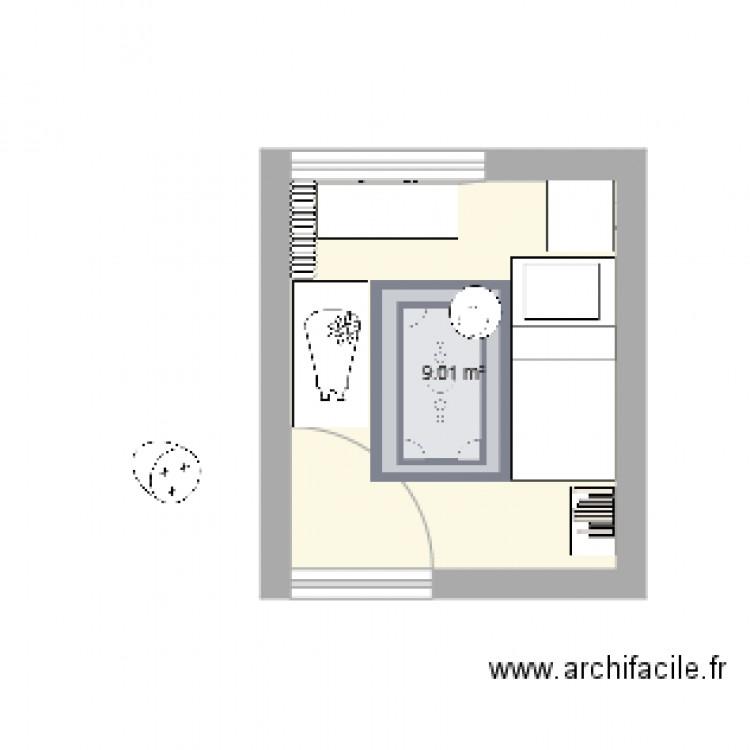 Chambre 1 plan 1 pi ce 9 m2 dessin par salzami for Chambre one piece