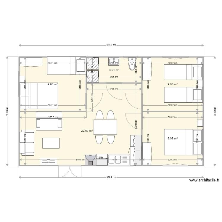 MODELE VENDEE 60M2 AVEC 3 CHAMBRES - Plan 5 pièces 55 m2 dessiné par LDB1969
