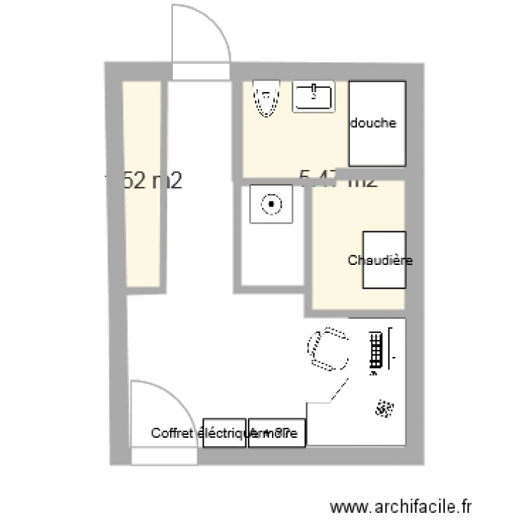 Buanderie plan 2 pi ces 7 m2 dessin par chami3 - Amenagement buanderie photos plans ...