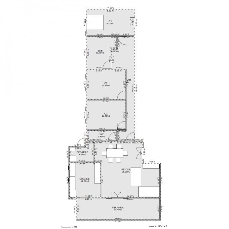 maison longue 2 plan 10 pi ces 143 m2 dessin par zourit 974. Black Bedroom Furniture Sets. Home Design Ideas