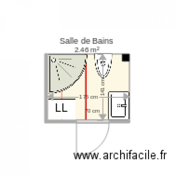 salle de bains plan 1 pi ce 2 m2 dessin par phle75. Black Bedroom Furniture Sets. Home Design Ideas