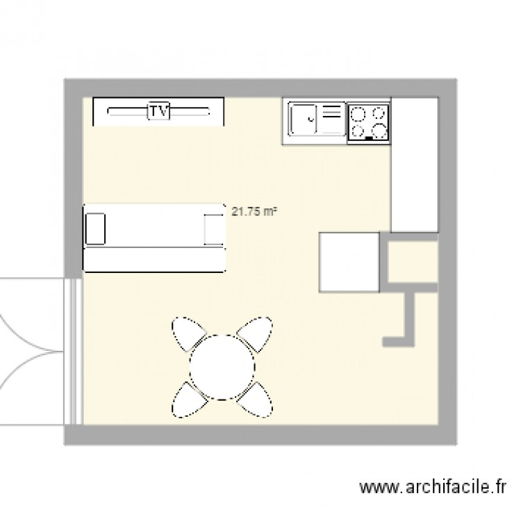 cuisine thonon v3 plan 1 pi ce 22 m2 dessin par senga0609. Black Bedroom Furniture Sets. Home Design Ideas