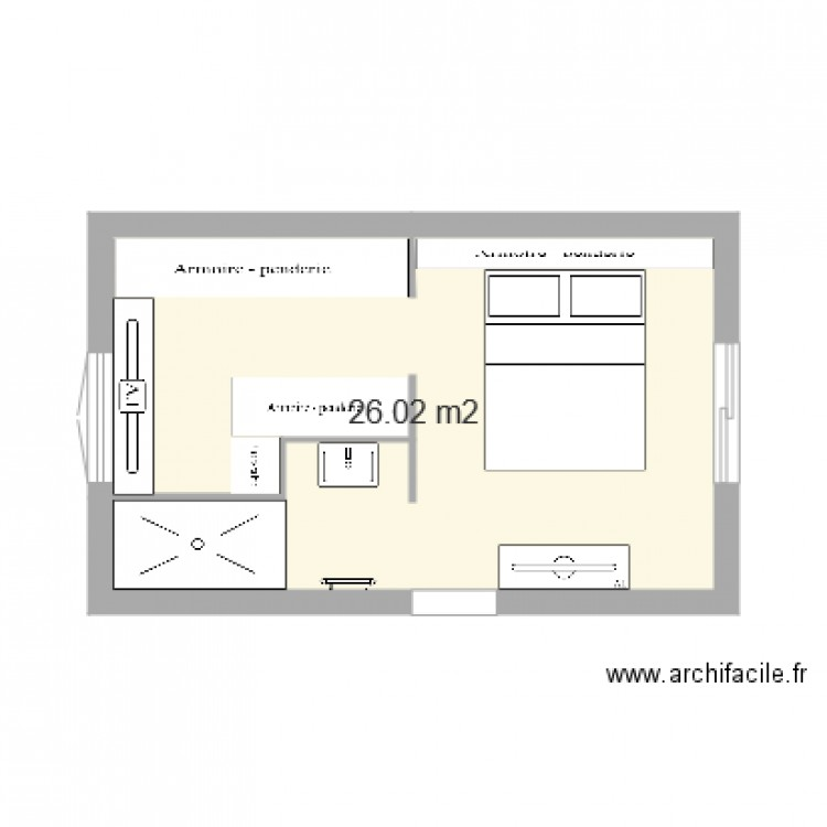 Chambre parentale plan 1 pi ce 26 m2 dessin par lemon djuss for Taille chambre parentale