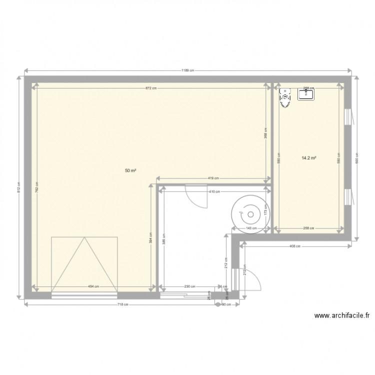 rez de chausse 1 plan 2 pi ces 64 m2 dessin par drech. Black Bedroom Furniture Sets. Home Design Ideas
