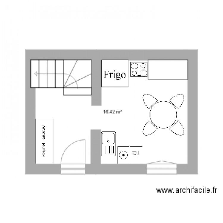 rez de chauss yves 1 plan 1 pi ce 16 m2 dessin par gendron pascale. Black Bedroom Furniture Sets. Home Design Ideas