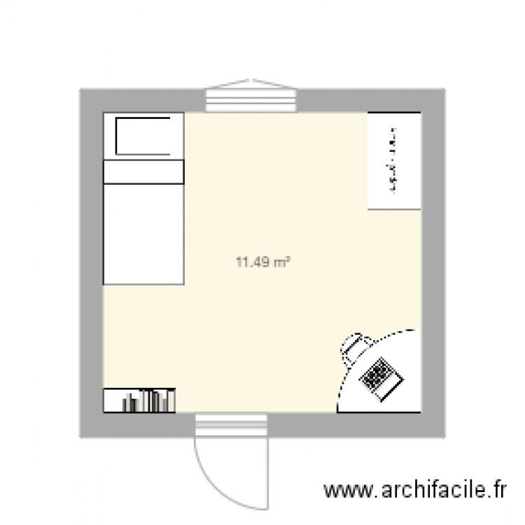 Chambre plan 1 pi ce 11 m2 dessin par duportgilles for Chambre one piece
