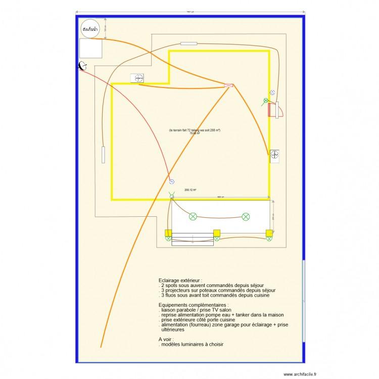Lectricit exterieur plan 2 pi ces 367 m2 dessin par for Electricite exterieur maison