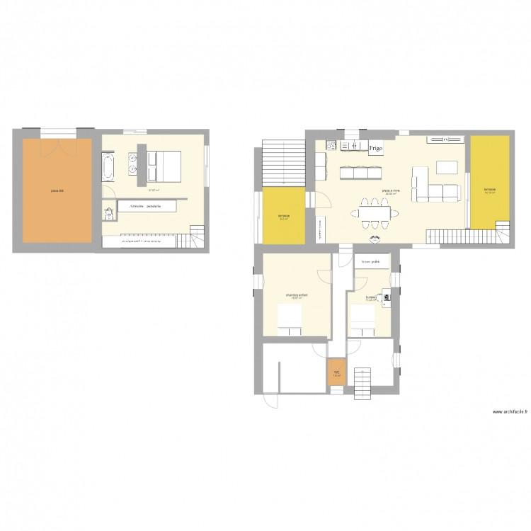 Essai agrandissement plan 9 pi ces 170 m2 dessin par for Agrandissement maison 170 m2